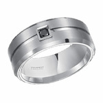 Triton 9mm Dual Finish White Tungsten Carbide Black Diamond Ring