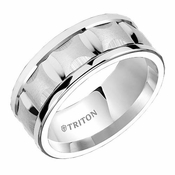 Triton 9mm Dual Finish White Tungsten Carbide Comfort Fit Ring