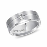 Triton 9mm Dual Finish White Tungsten Carbide Diamond Ring