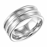 Triton 9mm Dual Finish White Tungsten Carbide Ring