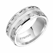 Triton 9mm Dual Finish White Tungsten Carbide Ring with Beveled Edges
