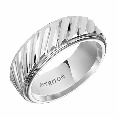 Triton 9mm Dual Finish White Tungsten Carbide Ring with Diagonal Cuts