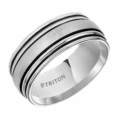 Triton 9mm Dual Finish White Tungsten Carbide Ring with Double Rimmed Edges