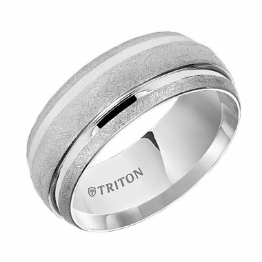Triton 9mm Dual Finish White Tungsten Carbide Ring with Grooves
