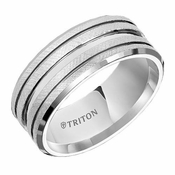 Triton 9mm Dual Finish White Tungsten Carbide Ring with Horizontal Cuts