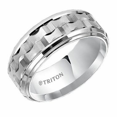 Triton 9mm Dual Finish White Tungsten Carbide Ring with Step Edges