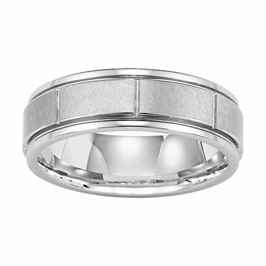 Triton 9mm Slotted White Tungsten Carbide Ring