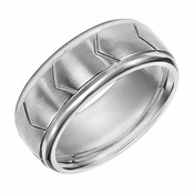 Triton 9mm Stainless Steel Ring with Chevron Patterns