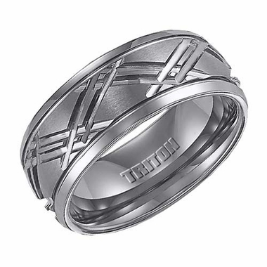 Triton 9mm Tungsten Carbide Ring with Cross Over Diagonal Cuts