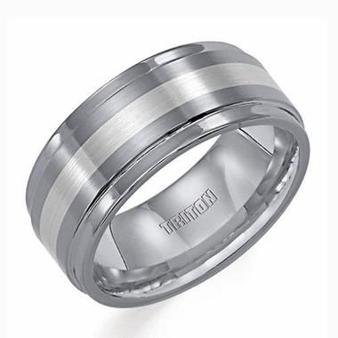 Triton 9mm Tungsten Carbide Ring with Platinum Inlay