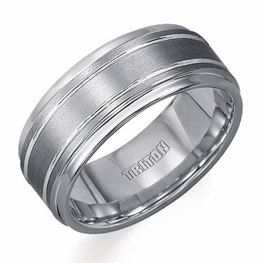 Triton 9mm Tungsten Carbide Ring with Polished Grooves