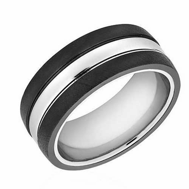 Triton 9mm Two Tone Tungsten Carbide Florentine Ring