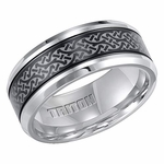 Triton 9mm Two Tone Tungsten Carbide Ring with Laser Engraving