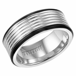 Triton 9mm Two Tone Tungsten Carbide Ring with Rolls