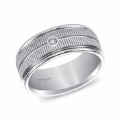 Triton 9mm White Tungsten Carbide Diamond Ring with Coin Texture
