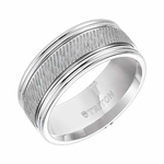 Triton 9mm White Tungsten Carbide Ring with Center Diagonal Coin Texture