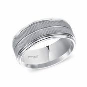 Triton 9mm White Tungsten Carbide Ring with Coin Texture