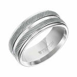 Triton 9mm White Tungsten Carbide Ring with Diagonal Coin Texture