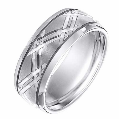 Triton 9mm White Tungsten Carbide Ring with Diagonal Cuts