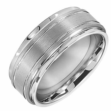 Triton 9mm White Tungsten Carbide Ring with Grooves