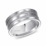 Triton 9mm White Tungsten Carbide Ring with Matte Grooves