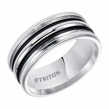 Triton 9mm White Tungsten Carbide Ring with Parallel Black Powdercoat Grooves