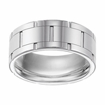 Triton 9mm White Tungsten Carbide Ring with Vertical Cuts