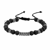 Triton Adjustable Lava Stone and Steel Bead Bracelet