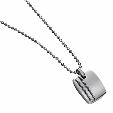 Triton Barclay Stainless Steel Pendant with Black Diamonds