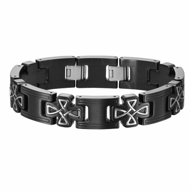 Triton Black Stainless Steel Celtic Cross Bracelet