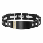 Triton Black Stainless Steel ID Bracelet with 14K Gold and Black Diamonds