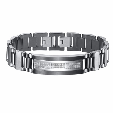 Triton Black Stainless Steel ID Bracelet with Diamonds