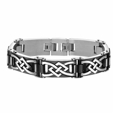 Triton Black Stainless Steel Link Bracelet with Celtic Knots