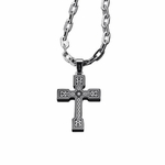 Triton Black Steel and Diamond Celtic Cross Pendant