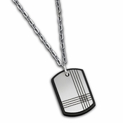 Triton Black Steel and Diamonds Dog Tag