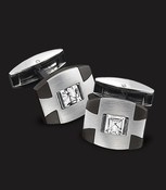 Triton Black Steel Cufflinks with White Topaz