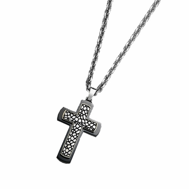 Triton Black Titanium Cross Pendant with Faux Nugget Texture