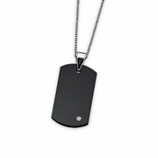 Triton Black Tungsten Carbide Dog Tag with Diamond