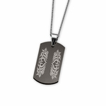 Triton Black Tungsten Carbide Dog Tag with Laser Engraving