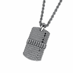 Triton Cast Steel Dog Tag with Silver Inlay and Black Diamonds