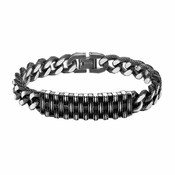 Triton Cast Steel Woven ID Bracelet with Textured Chain Links
