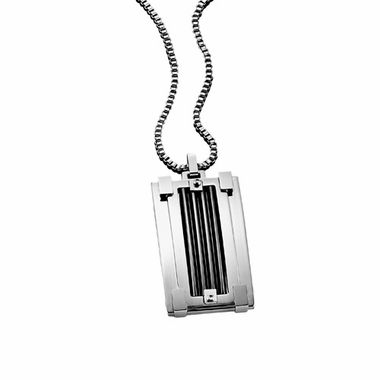 Triton Classic Stainless Steel Dog Tag with Titanium Inlay