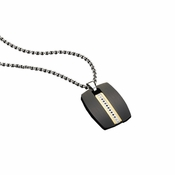 Triton Codec Black Stainless Steel Dog Tag with Black Diamonds