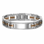 Triton Coffee Brown Stainless Steel ID Bracelet with Sterling Silver Inlay