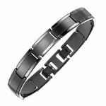 Triton Dual Finish Black Tungsten Carbide Bracelet