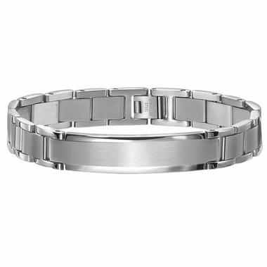 Triton Dual Finish Stainless Steel Men's Bracelet with ID Tag