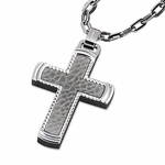 Triton Hammered Stainless Steel Cross Pendant