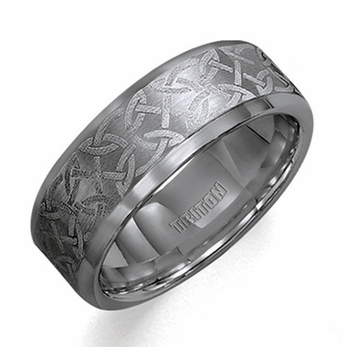 Triton Laser Engraved Celtic Knot Flat Tungsten Carbide Ring
