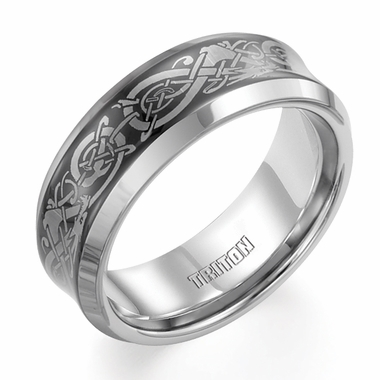 Triton Laser Engraved Celtic Knot Tungsten Carbide Ring