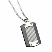 Triton Navigator Stainless Steel Dog Tag with Cable Inlays